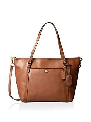 Coach Women's Peyton Leather Pocket Tote, Saddle