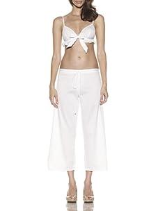 Samantha Chang Women's Cotton Stripe Cotton Pant (White)