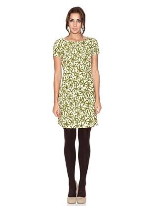 SIYU Vestido Flores Geométricas Manga Corta (Verde/Crudo)