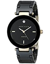 Anne Klein Women's AK/1018BKBK Black Ceramic Bracelet Watch with Diamond Marker