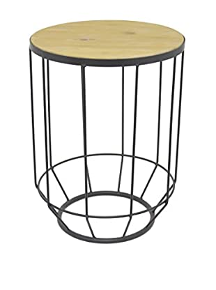 Three Hands Metal Accent Table, Black/Natural
