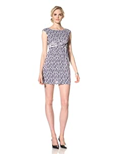 Muse Women's Nautical Side-Knot Sheath Dress (Navy/White)