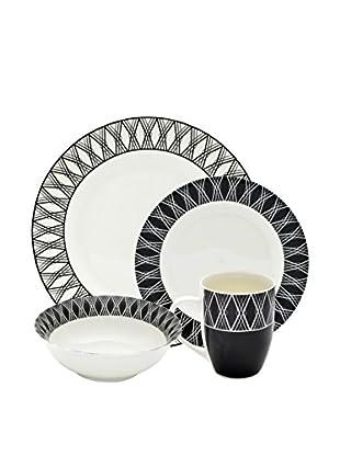 10 Strawberry Street 16-Piece Geo Dinner Set, White/Black