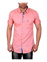 Studio Nexx Men's Peach Solid Casual Shirt