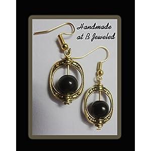 B Jeweled Oval Earrings