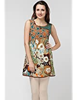 Sleeve Less Embroidered Multi Color Kurti