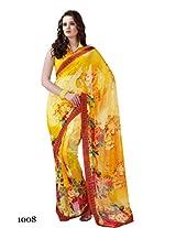 Yomeeto Wetless Fabric Yellow Coloured Printed Saree