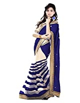 Vibes Women's Georgette Saree, With Blouse (S52-11004_Blue)