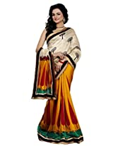 Riti Riwaz Beige & yellow Bhagalpuri Silk Casual Saree with Unstitched Blouse NRV6508A