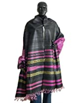DollsofIndia Black Tussar Chunni with Pink and Light Yellow Stripe Pallu - Silk Tussar - Brown