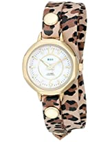 La Mer Collections Women's LMDELMARDW1506 Retro Leopard Gold Del Mar Double Analog Display Quartz Multi-Color Watch