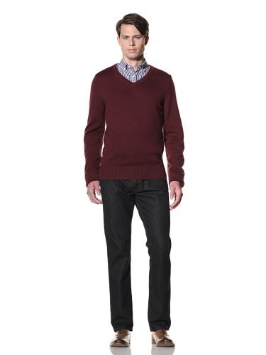 Billy Reid Men's Pointelle V-Neck Pullover (Crimson)
