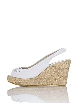 Miss Roberta Slingback Open-toe Strass (Bianco)