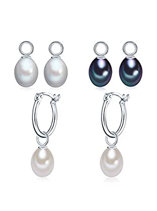 Nova Pearls Copenhagen Pendientes  plata de ley 925 milésimas / Negro / Blanco
