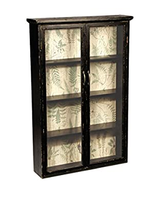 Napa Home and Garden Fern Wall Cabinet, Distressed Black