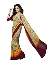 Suvastram Faux Georgette Saree With Blouse Piece (Surs1341 -Multi-Coloured)