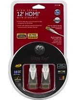 GE 87679 12-Feet A Plug to A Plug Flat Ethernet HDMI Cable, White