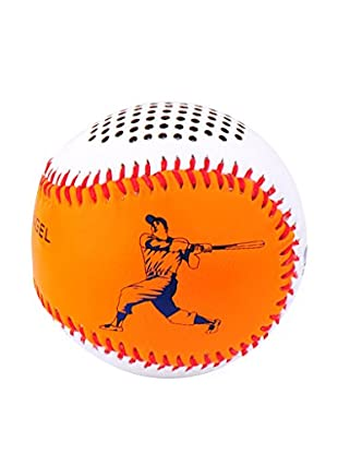 Hand-Stitched Leather Baseball Bluetooth Speaker, Orange