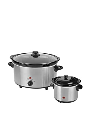 Kalorik 4.75-Quart Stainless Steel Slow Cooker with 0.75-Quart Stainless Steel Dipper