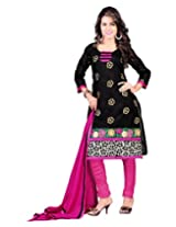 Lookslady Embroidered Black Chanderi Dress Material