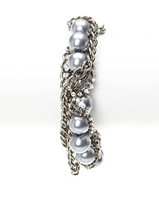 Chloe & Theodora Grey Simulated Pearl Gunmetal Curb Chain Bracelet