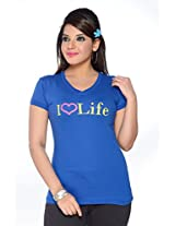 No Problem Womens Tee-shirt-Royal(Size X-Large)