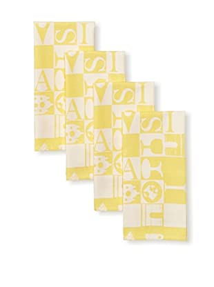 Garnier-Thiebaut Set of 4 Bistrot Guest Towels (Jaune)