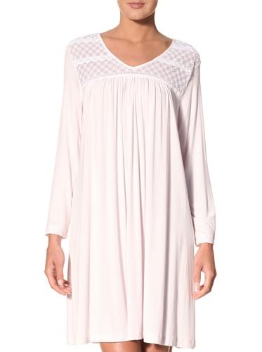 Oscar de la Renta Women's Long Sleeve Short Night Gown (Pink)