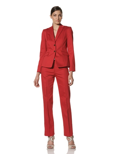 Tahari by A.S.L. Women's Pant Suit with 2-Button Jacket (Fire Red)