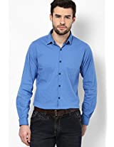 Blue Solid Stretch Casual Shirt