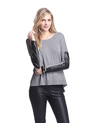 Acrobat Women's Sweater with Faux Leather Sleeves (Steel)