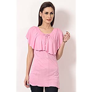 Viscose Flutter Sleeves Pink Long Top