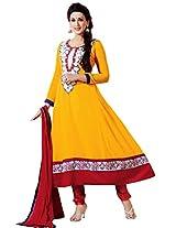 Riti Riwaz Yellow Gerogette Semi Stiched Anarkali Suit with Dupatta UM1085
