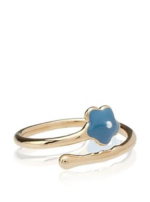 Frida Girl Enamel Flower Ring (Gold/Blue/White)