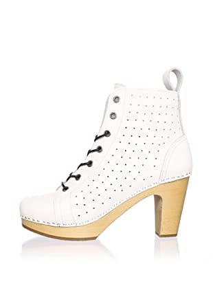 Swedish Hasbeens Women's Perforated Lace-Up Ankle Boot (White)