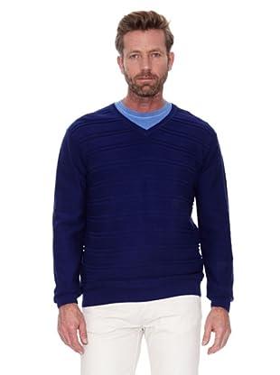 Cortefiel Jersey Cuello Pico Listado (Azul)