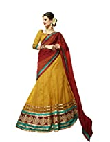 Kanheyas Womens Net Lehenga Choli (Kmtsd783 _Yellow And Red _Free Size)
