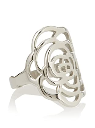 Chloe Collection By Liv Oliver Steel Open Flower Ring,