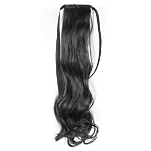 55cm Women Lady Girl Straight Curly Wavy Wig Hairpiece Ponytail Hair Extension Curly/Natural Black AD