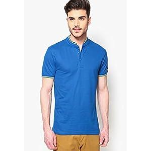 Blue Solid Slim T Shirt