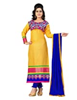 Lookslady Embroidered Yellow Cotton Semi Stitched Salwar Suit