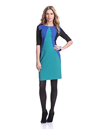 Julia Jordan Women's Colorblock Sheath (Peacock/Royal/Black)