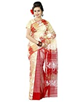 B3Fashion Traditional Handloom Beige colored Pure Dhakai Jamdani Half n Half Saree with vertically weaved leaf pattern in red, white & Zari