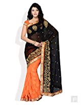 FOUR SEASONS Orange Butti-Full Half & Half Saree