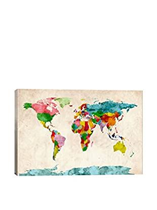 World Map Watercolors III Gallery Wrapped Canvas Print
