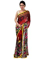 Yomeeto Faux Georgette Fabric Red and Gray Coloured Printed Saree