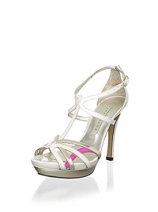 Pura López Women's T-Strap Platform Sandal (White Multi)