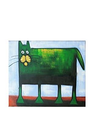 Legendarte Pintura al Óleo sobre Linezo Sfondo Semplice Per Il Gattone Verde
