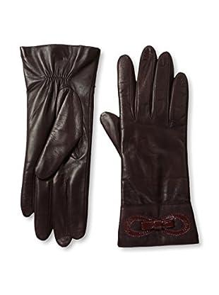 Portolano Women's Cashmere Lined Leather Gloves with Patent Bow (Bordeaux/Cabernet)
