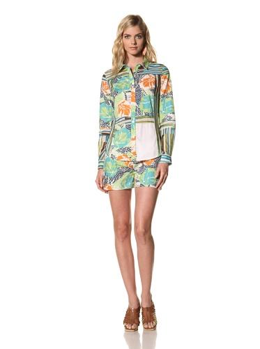Thakoon Addition Women's Long Sleeve Surf Printed Poplin Blouse (Green)
